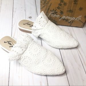 Free People White Sienna Slip On Mules